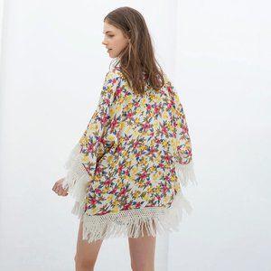 NWT ZARA Kimono Floral Print Cape Jacket